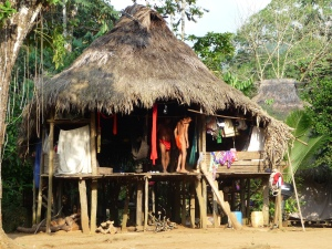 Typical hut in Embera Puru Village