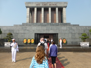 Although Ho Chi Minh died in 1969, his well preserved body is on display in the mausoleum.