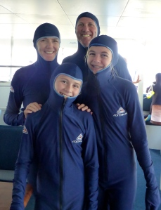 We look like a family of Teletubbies in our stinger suits.