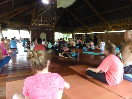 Free community yoga class at the Yoga Barn, Ubud, Bali